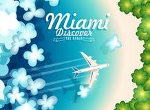 Benvenuto ad U.S.A. Miami Manifesto degli Stati Uniti d'America Illustrazione di vettore circa il viaggio illustrazione di stock