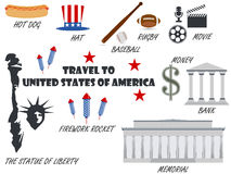Benvenuto ad U.S.A. Simboli Stati Uniti Insieme delle icone Vettore Immagine Stock Libera da Diritti