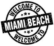 Benvenuto al bollo di Miami Beach Illustrazione di Stock