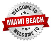 benvenuto al distintivo di Miami Beach Illustrazione Vettoriale