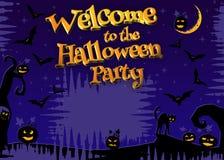 Benvenuto al partito 3D di Halloween Fotografia Stock