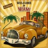Benvenuto al retro manifesto di Miami illustrazione vettoriale