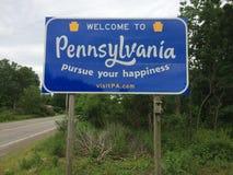 Benvenuto al segnale stradale della Pensilvania fotografia stock libera da diritti