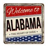 Benvenuto al segno arrugginito d'annata del metallo dell'Alabama illustrazione di stock