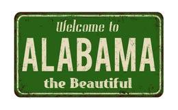 Benvenuto al segno arrugginito d'annata del metallo dell'Alabama illustrazione vettoriale