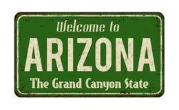 Benvenuto al segno arrugginito d'annata del metallo dell'Arizona illustrazione di stock
