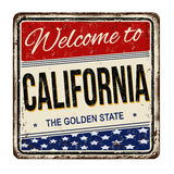 Benvenuto al segno arrugginito d'annata del metallo di California illustrazione di stock
