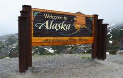 Benvenuto al segno dell'Alaska Fotografia Stock