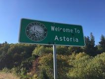 Benvenuto al segno di Astoria Fotografia Stock Libera da Diritti