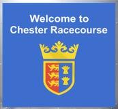 Benvenuto al segno di Chester Racecourse fotografie stock