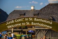 Benvenuto al segno di St Bartholomew, Germania, 2015 Fotografia Stock