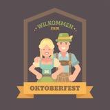 Benvenuto all'insegna piana dell'illustrazione di Oktoberfest royalty illustrazione gratis