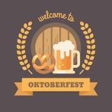 Benvenuto all'insegna piana dell'illustrazione di Oktoberfest illustrazione di stock