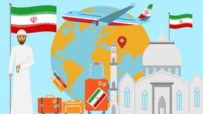 Benvenuto alla cartolina dell'Iran Concetto di viaggio e di viaggio dell'illustrazione islamica di vettore del paese con la bandi illustrazione vettoriale