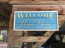 Benvenuto alla nostra casa di spiaggia Immagini Stock Libere da Diritti