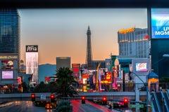 Benvenuto alla striscia di Las Vegas all'alba Fotografia Stock Libera da Diritti
