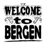 Benvenuto a Bergen - iscrizione nelle lettere nere su un fondo bianco illustrazione vettoriale