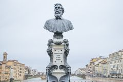 Benvenuto Cellini monument on Ponte Vecchio. He was one of the most important artists of Mannerism.  Royalty Free Stock Image
