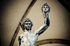 Benvenuto Cellini statue of Perseus Holding the Head of Medusa in Florence Italy stock photo