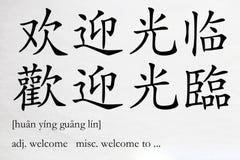 Benvenuto cinese di parola Fotografie Stock Libere da Diritti