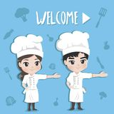 Benvenuto del cuoco unico un'espressione felice e piacevole royalty illustrazione gratis