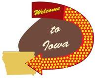 Benvenuto del segnale stradale nello Iowa illustrazione di stock