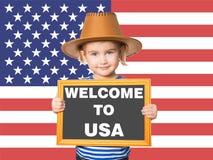 BENVENUTO del testo ad U.S.A. Immagine Stock Libera da Diritti