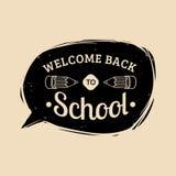 Benvenuto dell'annata di vettore di nuovo all'etichetta della scuola Icona di istruzione dei bambini Concetto di progetto di gior Immagine Stock