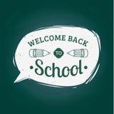 Benvenuto dell'annata di vettore di nuovo all'etichetta della scuola Icona di istruzione dei bambini Concetto di progetto di gior Fotografie Stock Libere da Diritti