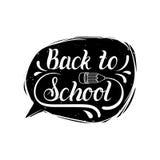 Benvenuto dell'annata di vettore di nuovo all'etichetta della scuola Icona di istruzione dei bambini Concetto di progetto di gior Fotografia Stock