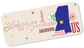 Benvenuto dell'etichetta nel Mississippi Fotografie Stock Libere da Diritti