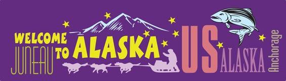 Benvenuto dell'insegna nell'Alaska Immagine Stock
