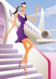 Benvenuto dello Stewardess a bordo Immagine Stock Libera da Diritti