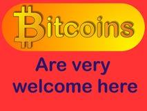 Benvenuto di Bitcoin - segno accettato Fotografie Stock Libere da Diritti