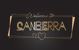 Benvenuto di Canberra all'illustrazione d'iscrizione al neon di vettore di tipografia del testo dorato royalty illustrazione gratis