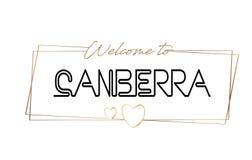 Benvenuto di Canberra per mandare un sms alla tipografia d'iscrizione al neon Parola per il logotype, distintivo, icona, cartolin illustrazione di stock