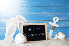 Benvenuto di mezzi di Sunny Summer Card With Willkommen Fotografia Stock Libera da Diritti
