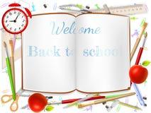 Benvenuto di nuovo ai rifornimenti di scuola ENV 10 royalty illustrazione gratis