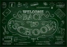 Benvenuto di nuovo al fondo di vendita della scuola con la mela rossa, illustrazione di vettore Immagine Stock Libera da Diritti