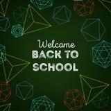 Benvenuto di nuovo al fondo variopinto della scuola con le forme geometriche e testo su fondo verde scuro illustrazione di stock