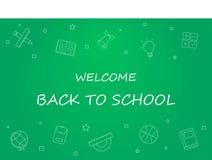 Benvenuto di nuovo all'insegna di scuola con la linea icona sulla lavagna Modello di progettazione per l'insegna, manifesto Immagini Stock