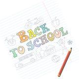 Benvenuto di nuovo alla carta della scuola con gli schizzi del bambino sul taccuino Fotografie Stock Libere da Diritti