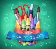Benvenuto di nuovo alla scuola con il nastro, i pastelli e gli elementi della scuola royalty illustrazione gratis