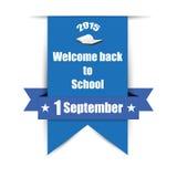 Benvenuto di nuovo alla scuola sull'etichetta Royalty Illustrazione gratis