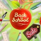 Benvenuto di nuovo alla vendita della scuola ENV 10 illustrazione vettoriale