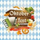 Benvenuto di Oktoberfest al festival della birra Aletta di filatoio o manifesto dell'invito per la festività Fotografie Stock Libere da Diritti
