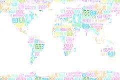 Benvenuto di rappresentazione della mappa nelle lingue differenti Fotografia Stock