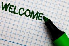 Benvenuto di rappresentazione della nota di scrittura Foto di affari che montra riconoscimento caldo di saluto per qualcuno PA ri immagine stock libera da diritti