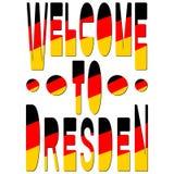 Benvenuto a Dresda È la capitale e, dopo Lipsia, la città secondo più esteso dello stato libero della Sassonia in Germania illustrazione di stock