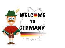 Benvenuto in Germania, manifesto eccellente di affari dell'estratto di qualità illustrazione di stock